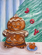Cheer Painting Posters - Gingerbread Cookies Poster by Victoria Lakes