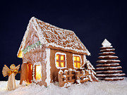 Snowy Night Metal Prints - Gingerbread cottage Metal Print by Roman Milert