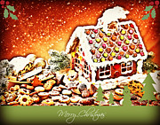 Candy Digital Art Originals - Gingerbread House Christmas  by Jessica Grandall
