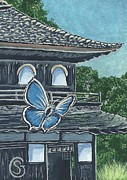 Aceo Original Originals - Ginkakuji Temple with Japanese Butterfly by Sherry Goeben