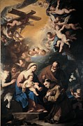 Holy Art Framed Prints - Giordano Luca, Holy Family Venerated Framed Print by Everett