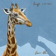 Digital Drawing Framed Prints - Giraffe Framed Print by Aaron Blaise