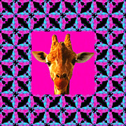 Calming Posters - Giraffe Abstract Window 20130205m180 Poster by Wingsdomain Art and Photography