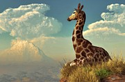 Daniel Digital Art Framed Prints - Giraffe and Distant Mountain Framed Print by Daniel Eskridge