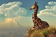 Daniel Eskridge - Giraffe and Distant Mountain