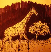 Environment Drawings Prints - Giraffe  in Habitat Print by John Malone