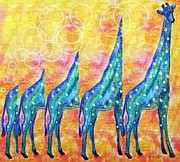 Giraffe Framed Prints - Giraffe in MOTION Framed Print by Eloise Schneider