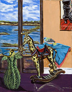 Posters On Paintings - Giraffe is Off His Rocker by Susan Culver