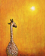 Yellow Painting Metal Prints - Giraffe Looking Back Metal Print by Jerome Stumphauzer