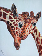Portraits Tapestries - Textiles Metal Prints - Giraffe Love Metal Print by Blanch Paulin