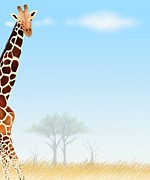 Animal Themes Painting Prints - Giraffe Postcard and Paper Note Print by Iam Nee