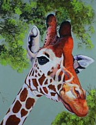 Head Shot Painting Prints - Giraffe Print by Shirl Theis