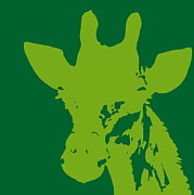 Ramona Johnston Framed Prints - Giraffe Silhouette Lime Green Framed Print by Ramona Johnston