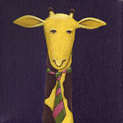 Plum Paintings - Giraffe Wearing Tie by Christy Beckwith
