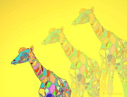 Giraffe X 3 - Yellow - The Card Print by Joyce Dickens