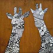 Negative Mixed Media Posters - Giraffe Zen Poster by Debi Pople
