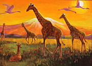 Whit Originals - Giraffes and Flamingoes by Jan Mecklenburg