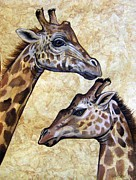 Amate Bark Paper Prints - Giraffes Print by Anne Shoemaker-Magdaleno