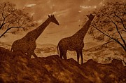 Lanscape Paintings - Giraffes at Dawn by Georgeta Blanaru