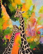 Giraffes Paintings - Giraffes by Cristina Materon
