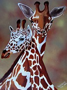 Giraffes Paintings - Giraffes by Debbie LaFrance