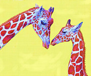Giraffe Digital Art Framed Prints - giraffes III Framed Print by Jane Schnetlage
