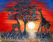 Giraffes Paintings - Giraffes. Inspirations Collection. by Oksana Semenchenko