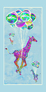 Giraffe Digital Art Framed Prints - Giraffes With Balloons Framed Print by Jane Schnetlage