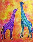 Mother And Baby Giraffe Paintings - Giraffes with Xs and Os by Eloise Schneider