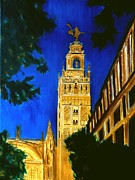 Seville Painting Prints - Giralda of Seville Print by Manuel Sanchez