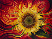 Flower Painting Framed Prints - Girasol Dinamico Framed Print by Ricardo Chavez-Mendez