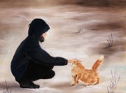Orange Cat Pastels Posters - Girl and a Cat Poster by Anastasiya Malakhova