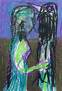 Expressionist Pastels Framed Prints - Girl and Bird Framed Print by Edgeworth Johnstone