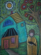 Houses Pastels Posters - Girl and Bird Poster by Karla Gerard