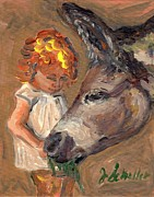 Western.love Painting Prints - Girl and her Donkey Print by Jodie  Scheller