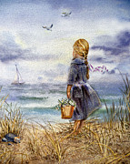 Watercolor By Irina Posters - Girl And The Ocean Poster by Irina Sztukowski