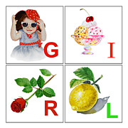 Art For Kids Room Posters - GIRL Art Alphabet for Kids Room Poster by Irina Sztukowski