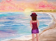 Panama City Beach Painting Prints - Girl at sunset Print by Susan Hart
