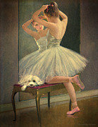 Ballet Dancers Prints - Girl Ballet Dancer Fixes Her Hair with Maltese Dog on Bench Print by Pierpont Bay Archives