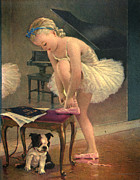 Ballet Dancers Posters - Girl Ballet Dancer Ties Her Slipper with Boston Terrier Dog Poster by Pierponit Bay Archives