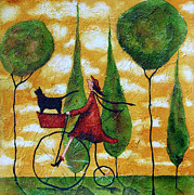 Black Cat Landscape Prints - Girl Bike Ride Black Cat Pet Animal Italian Cypress Trees Landscape High Wheeler Clouds Print by Debi Hubbs