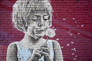 Graffiti Wall Art Framed Prints - Girl Blowing a Dandelion Framed Print by Chris Dutton