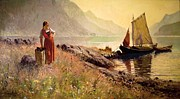 Norway Painting Framed Prints - Girl by the Shore of a Lake Framed Print by Pg Reproductions