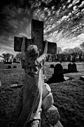 Headstones Framed Prints - Girl Clings to Cross Allegheny Cemetery  Framed Print by Amy Cicconi