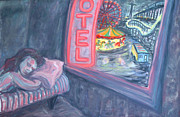 Amusement Parks Paintings - Girl Dreaming In Coney Island by Arthur Robins