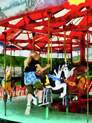 Carousel Framed Prints - Girl Getting on Merry-Go-Round Framed Print by Susan Savad