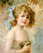 Emile Framed Prints - Girl Holding A Nest Framed Print by Emile Vernon