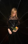 Black Dress Metal Prints - Girl Holding Rose Metal Print by Christopher Elwell and Amanda Haselock