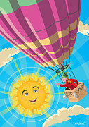 Ballooning Posters - Girl in a balloon greeting a happy sun Poster by Martin Davey