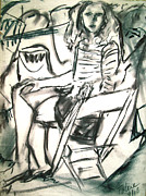 Drawing Painting Originals - Girl in a Chair  by Tolere